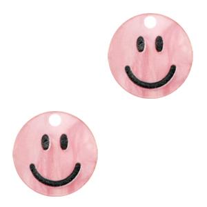Acrylaat bedel smiley shiny azalea pink, per stuk