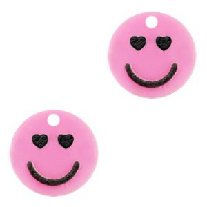 Acrylaat bedel smiley hearts pink, per stuk