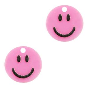 Acrylaat bedel smiley pink, per stuk