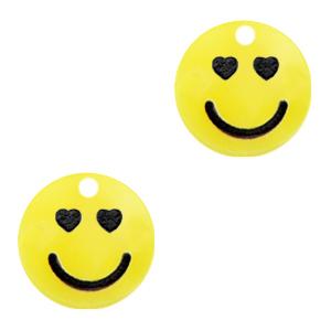 Acrylaat bedel smiley hearts sunrise yellow, per stuk