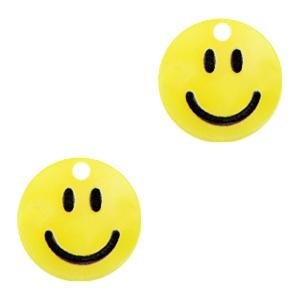 Acrylaat bedel smiley sunrise yellow, per stuk