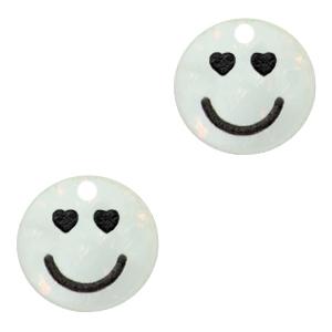 Acrylaat bedel smiley hearts shimmery white, per stuk