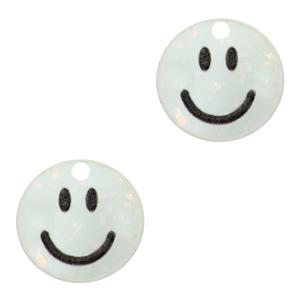 Acrylaat bedel smiley shimmery white, per stuk