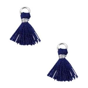 Kwastje 1cm Ibiza style Donker blauw-zilver