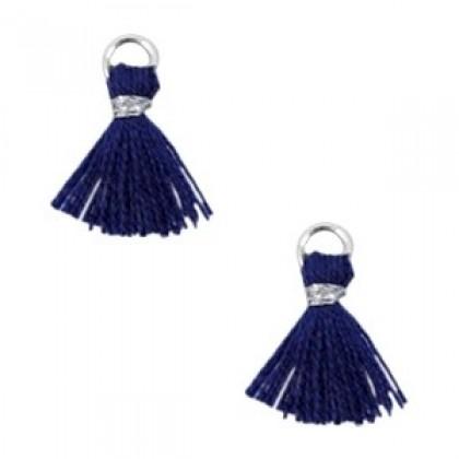 Mini kwastje Ibiza style Zilver-Donker blauw