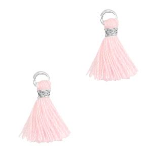 Kwastje 1cm silver light pink
