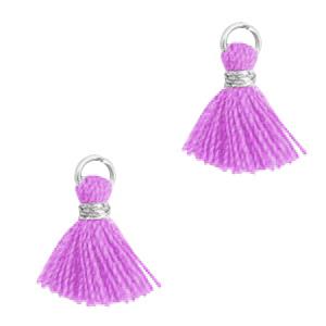Kwastje 1cm silver light purple