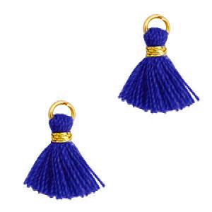 Kwastje 1cm gold princess blue