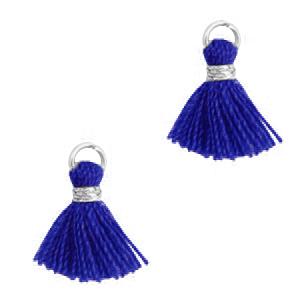 Kwastje 1cm silver princess blue