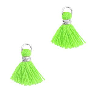 Kwastje 1cm silver neon green