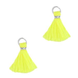 Kwastje 1cm silver neon yellow