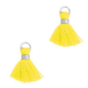 Kwastje 1cm silver freesia yellow