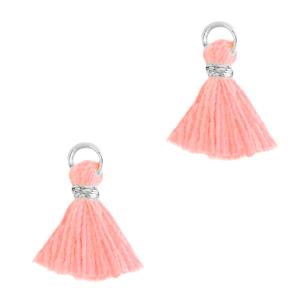 Kwastje 1cm silver bright pink