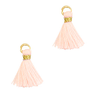 Kwastje 1cm gold seashell pink