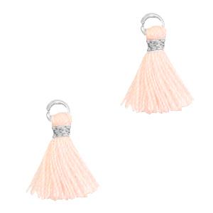 Kwastje 1cm silver seashell pink