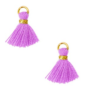 Kwastje 1cm gold light purple