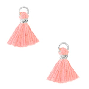 Kwastje 1cm silver bright pink