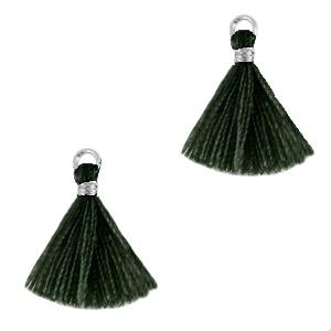 Kwastje 1.5cm silver dark classic green
