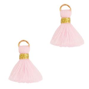 Kwastje 1.5cm gold light pink