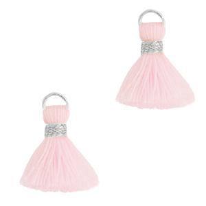 Kwastje 1.5cm silver light pink