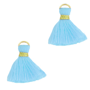 Kwastje 1.5cm gold light blue