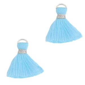 Kwastje 1.5cm silver light blue