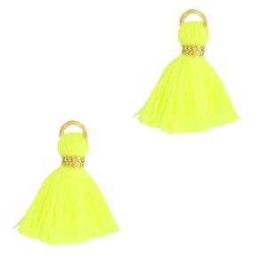 Kwastje 1.5cm gold neon yellow