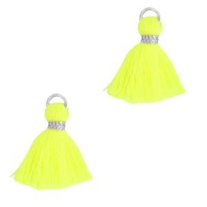 Kwastje 1.5cm silver neon yellow