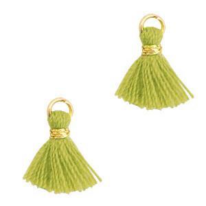 Kwastje 1cm gold light olive green