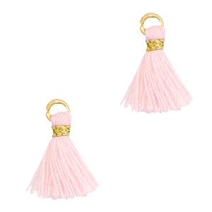 Kwastje 1cm gold light pink