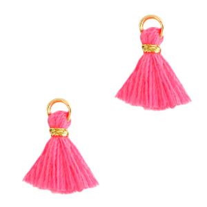 Kwastje 1cm gold hot pink