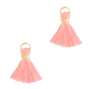 Kwastje 1cm gold bright pink