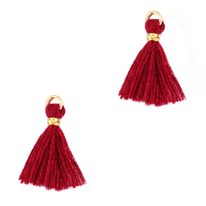 Kwastje 1.5cm gold ruby wine red