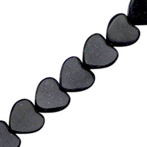 Natuursteen kralen hart glitter midnight blue, per stuk