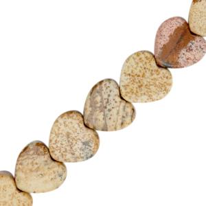 Natuursteen kralen hart sandstone brown, per stuk