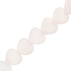 Natuursteen kralen hart off white pink, per stuk