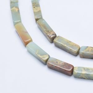 Natuursteen kralen tubes aqua terra jasper, per stuk