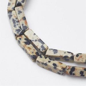 Natuursteen kralen tubes dalmatian jasper, per stuk