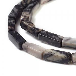 Natuursteen kralen tubes black silk, per stuk