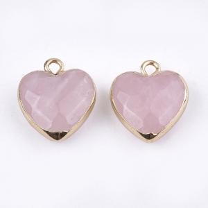 Natuursteen bedel heart rose quartz, per stuk