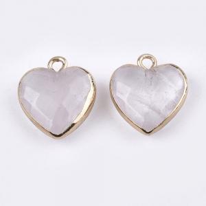 Natuursteen bedel heart quartz crystal, per stuk