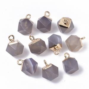 Natuursteen bedel dodecahedron grey agate, per stuk
