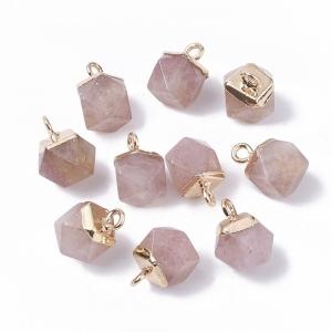 Natuursteen bedel dodecahedron strawberry quartz, per stuk
