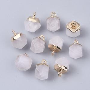 Natuursteen bedel dodecahedron quartz crystal, per stuk