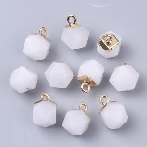 Natuursteen bedel dodecahedron white jade, per stuk