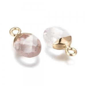Natuursteen bedel facet quartz crystal, per stuk