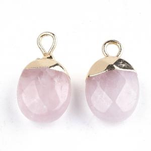 Natuursteen bedel facet rose quartz, per stuk