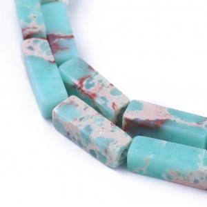 Natuursteen kralen tubes dark turquoise, per stuk