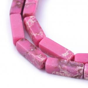 Natuursteen kralen tubes deep pink, per stuk