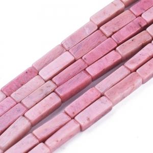 Natuursteen kralen tubes rhodonite, per stuk